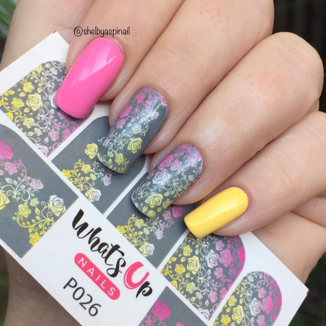 Whats Up Nails - P026 Faded Floral Water Decals | Whats Up Nails