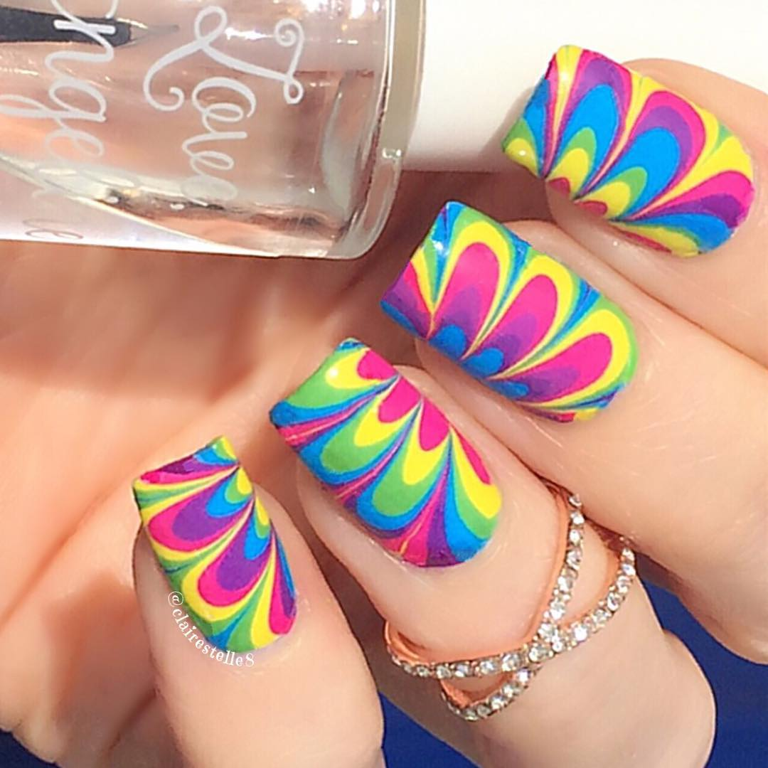 Whats Up Nails P013 Neon Petal Watermarble | Whats Up Nails